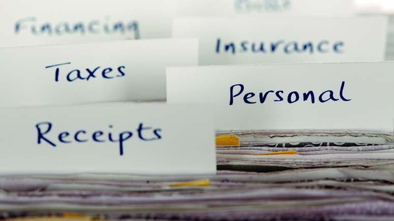 filing system for finances, personal information and taxes
